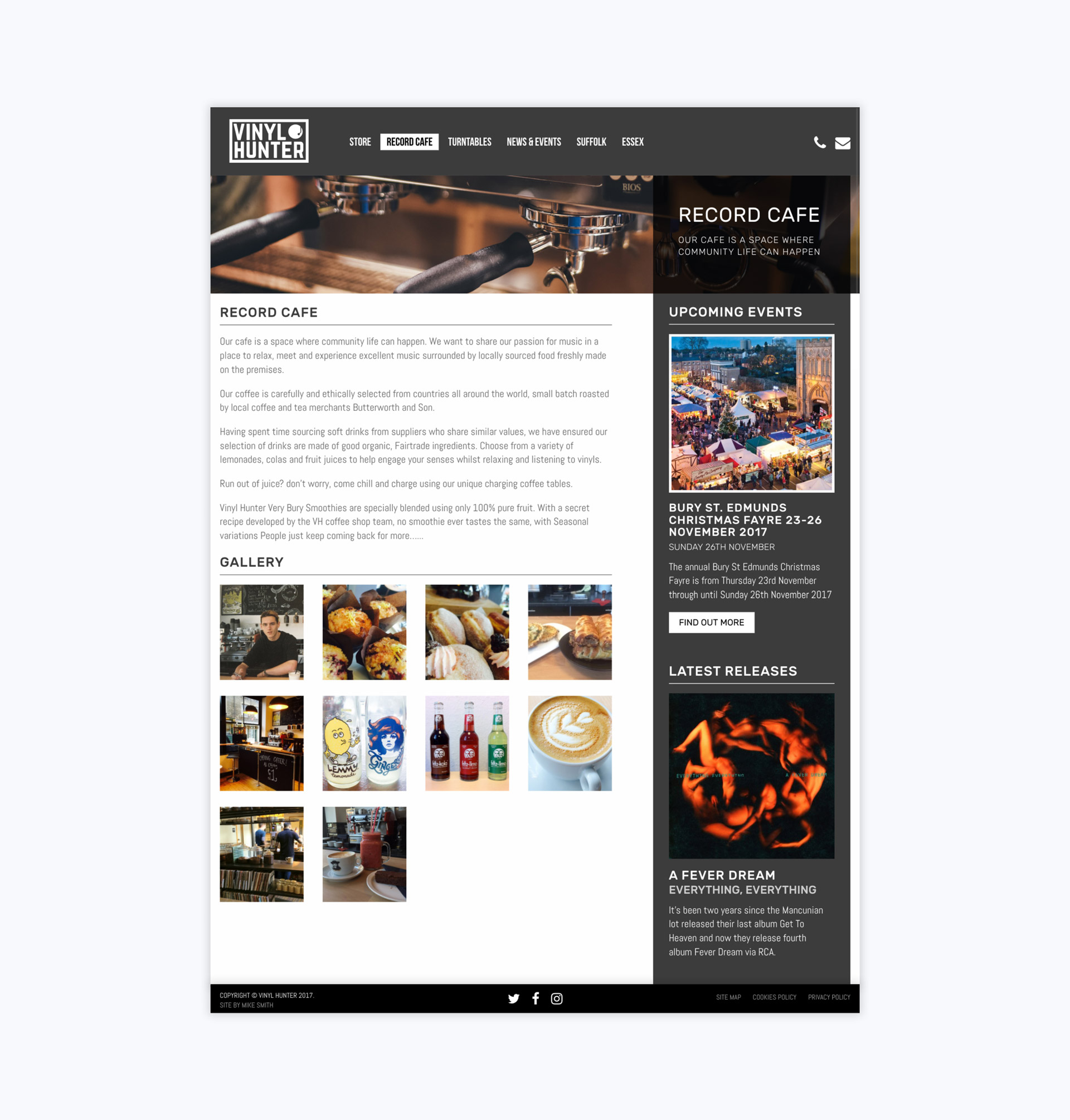 Vinyl Hunter Record Cafe Page Tablet