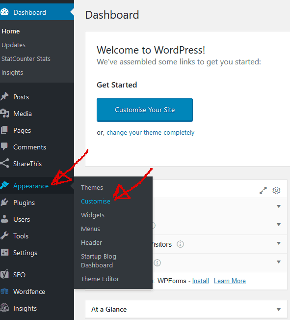 How to find customise in your WordPress admin