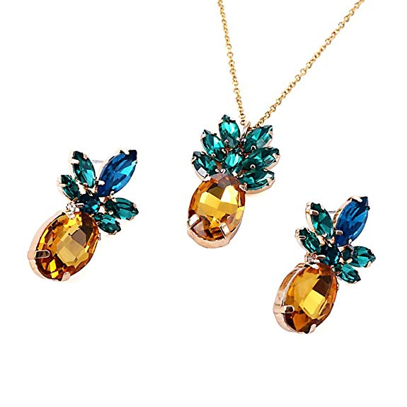SXNK7 Sparkling Yellow Emerald Crystal Vintage Pineapple Earrings and Necklace Set