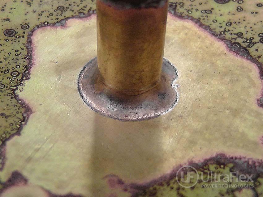 welding brass Stem to Brass Disk
