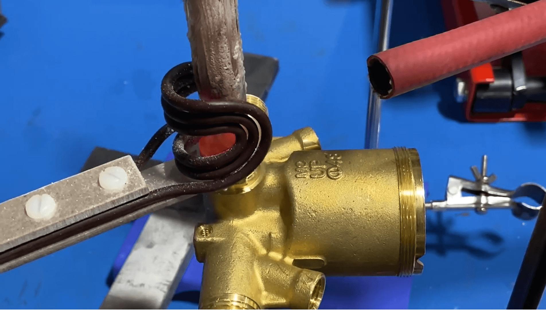 induction brazing of brass valve assembly