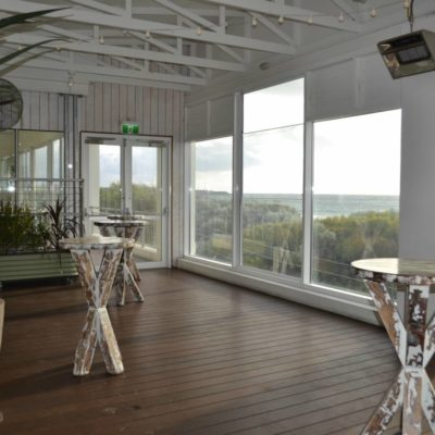 Private Function Area Set Up For Drinks And Has A View Of The Ocean. Coast Port Beach
