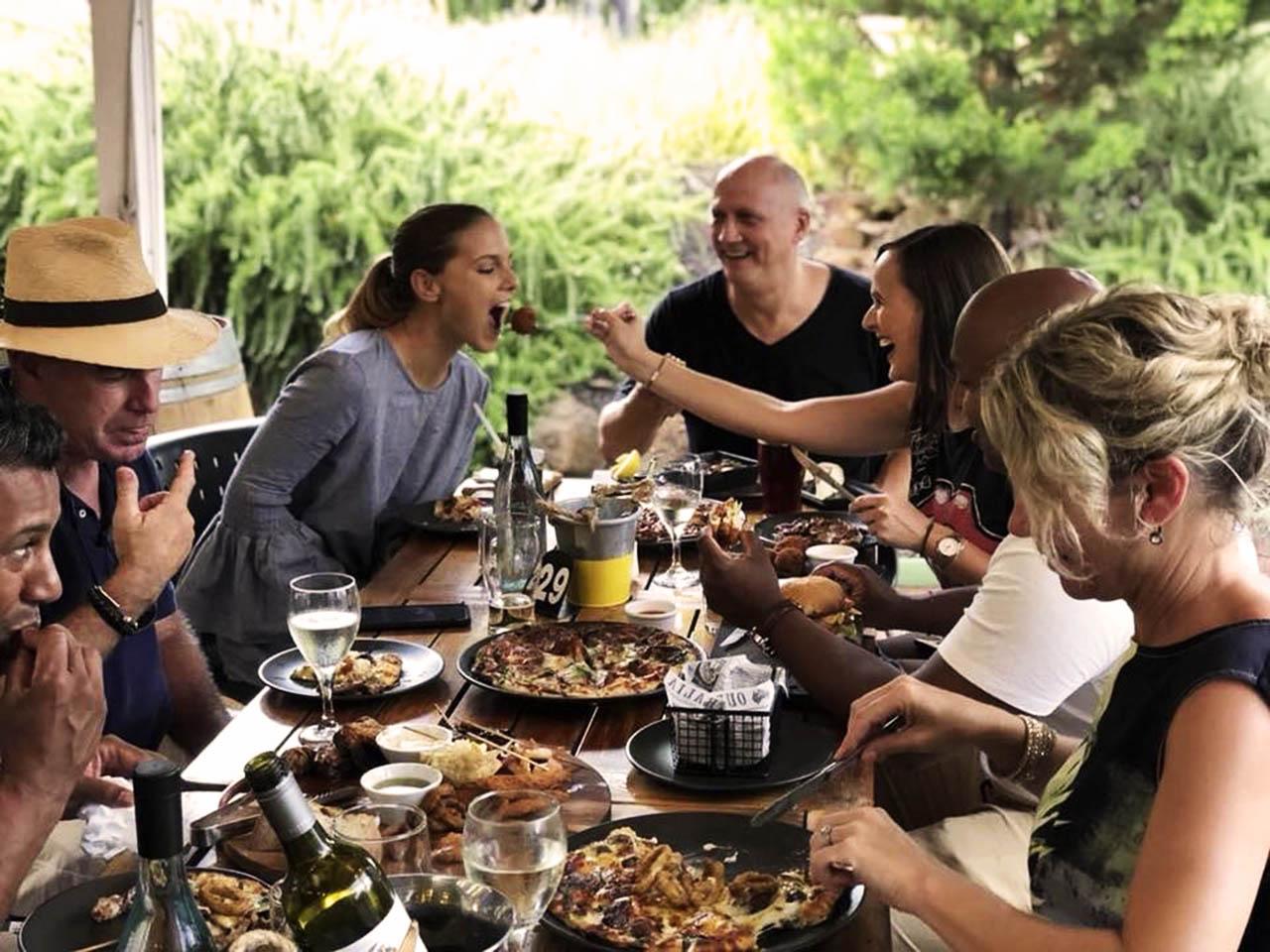 People Enjoying Eating