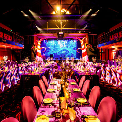 Party style setting with long tables