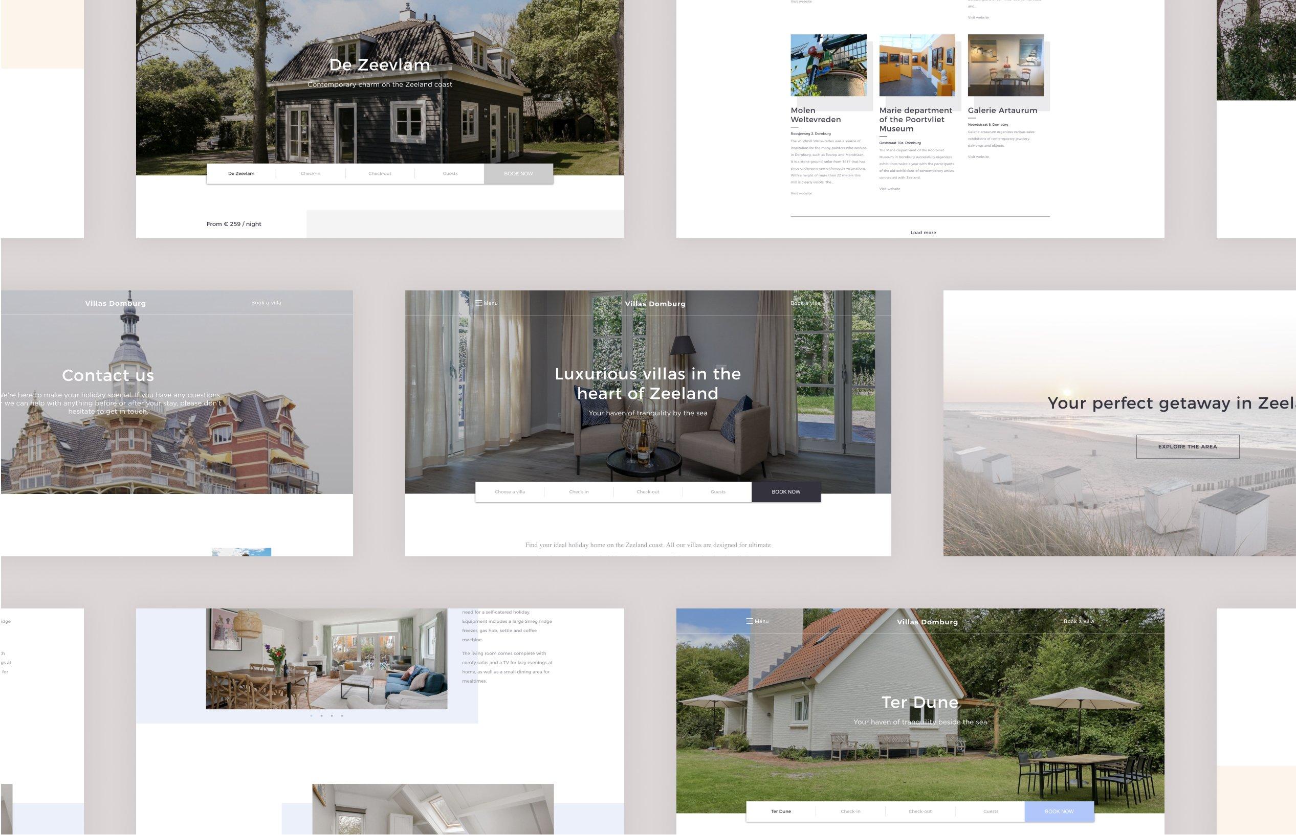 Villa Domburg website - Desktop view