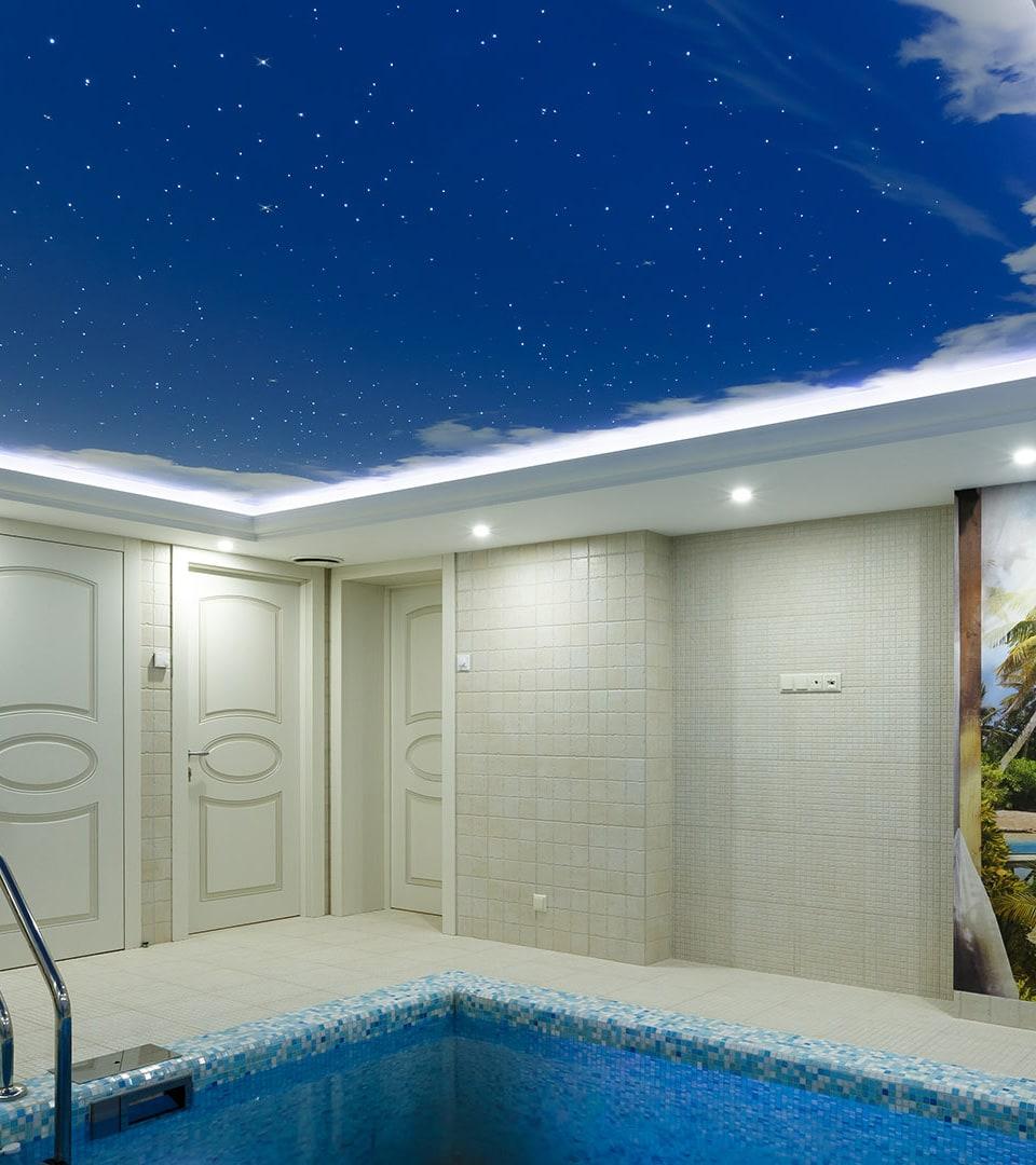 Натяжной потолок звездное небо в бассейне 19 м2 1