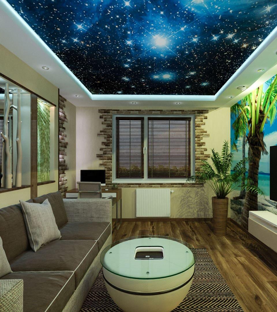 Цены натяжных потолков звездное небо