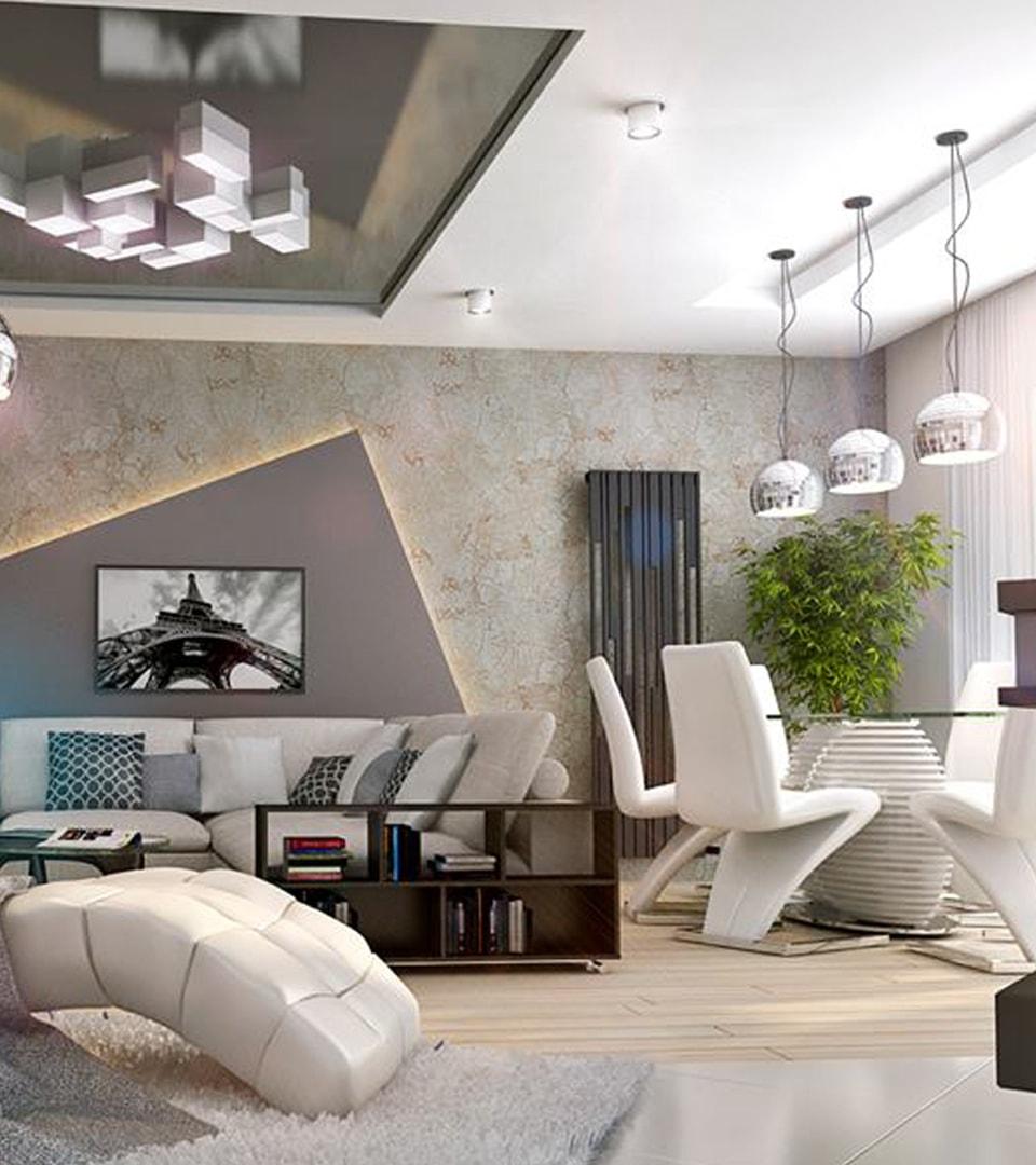 Натяжной потолок в гостиной 21 м2 3