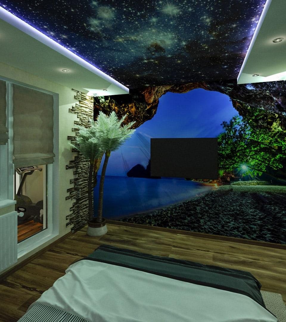 Натяжной потолок звездное небо в гостиной 18 м2 3