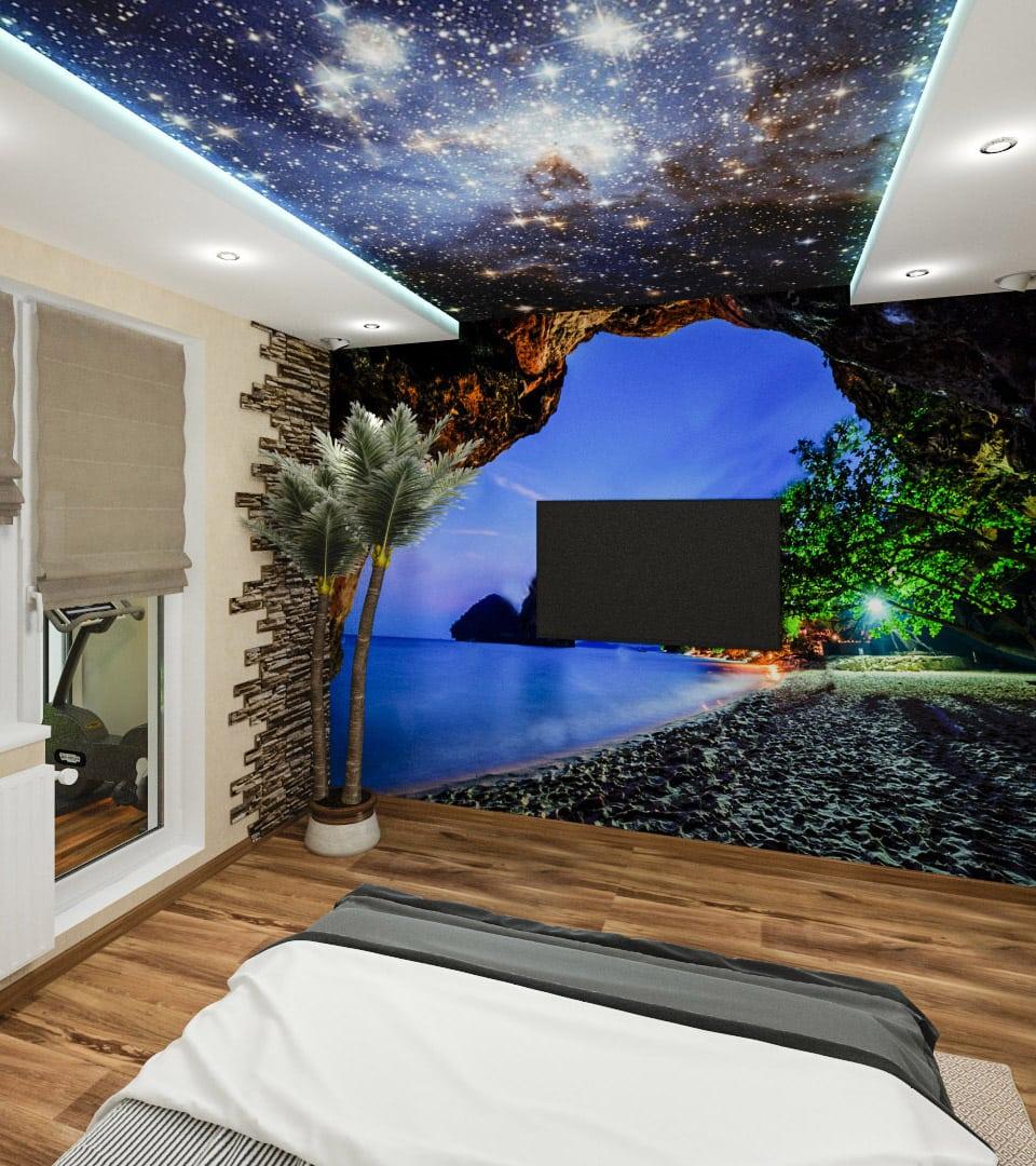 Натяжной потолок звездное небо в гостиной 18 м2 4