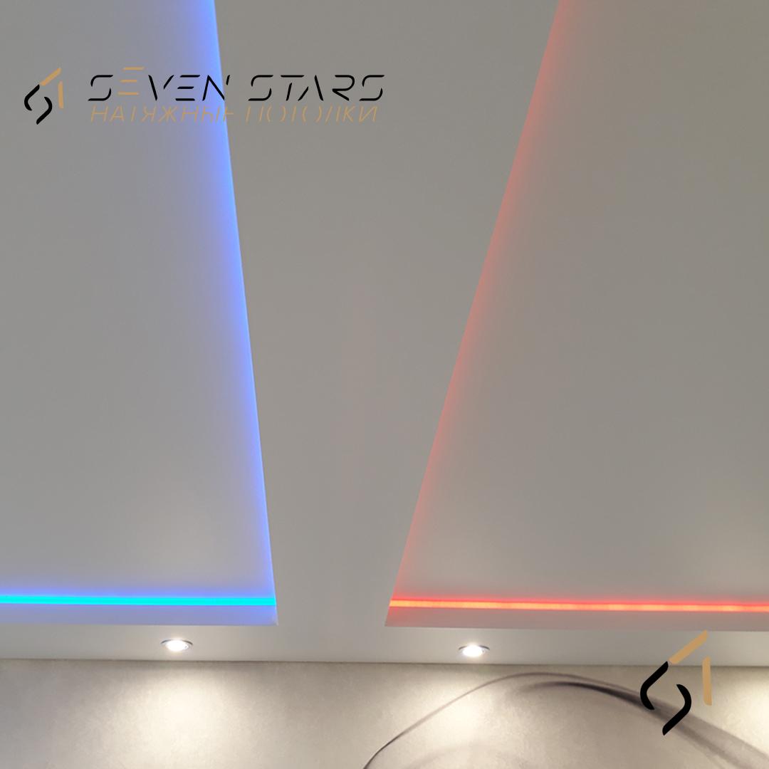 Двухуровневый потолок с подсветкой 21.5 м2 4