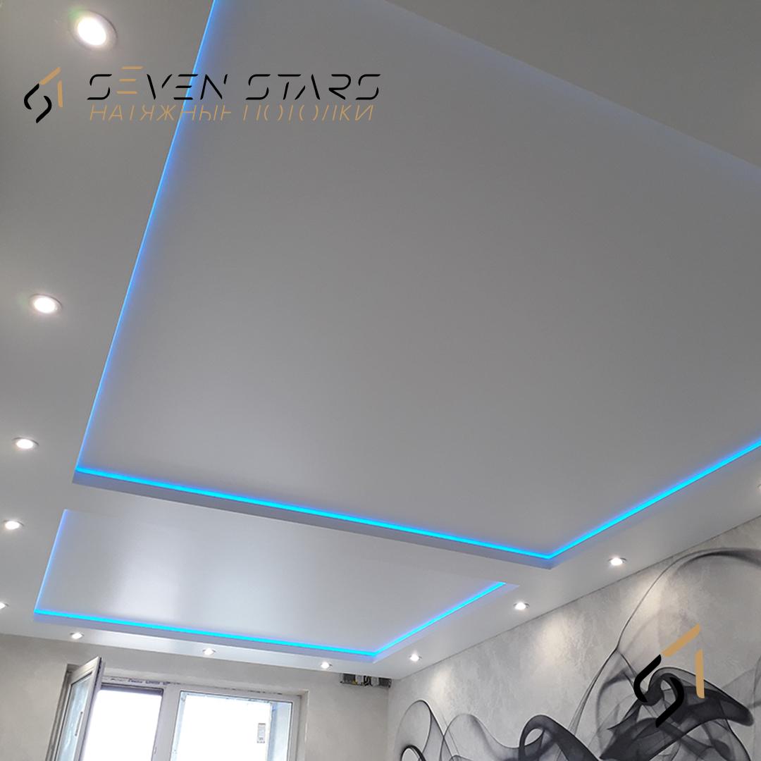 Двухуровневый потолок с подсветкой 21.5 м2 5
