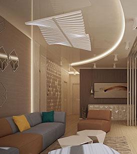 Натяжные потолки в стиле модерн 1