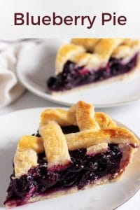A large picture with two slices of the blueberry pie sitting on white pates.
