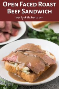 The finished leftover pot roast sandwich topped with beef gravy.