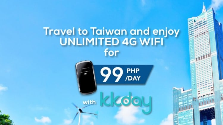 Enjoy UNLIMITED 4G wifi in Taiwan for Php99 a day with KKday