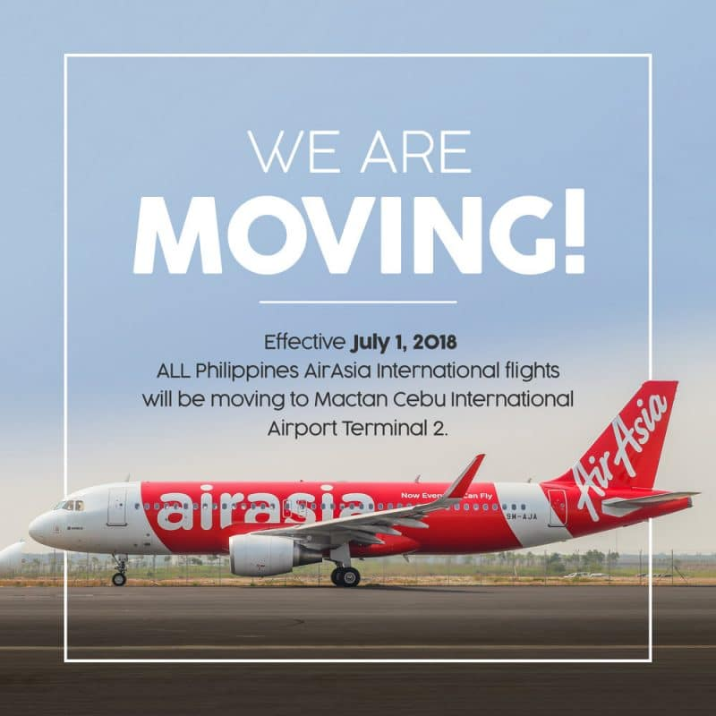 AirAsia moves international flights to new Terminal 2 in Mactan Cebu International Airport on July 1