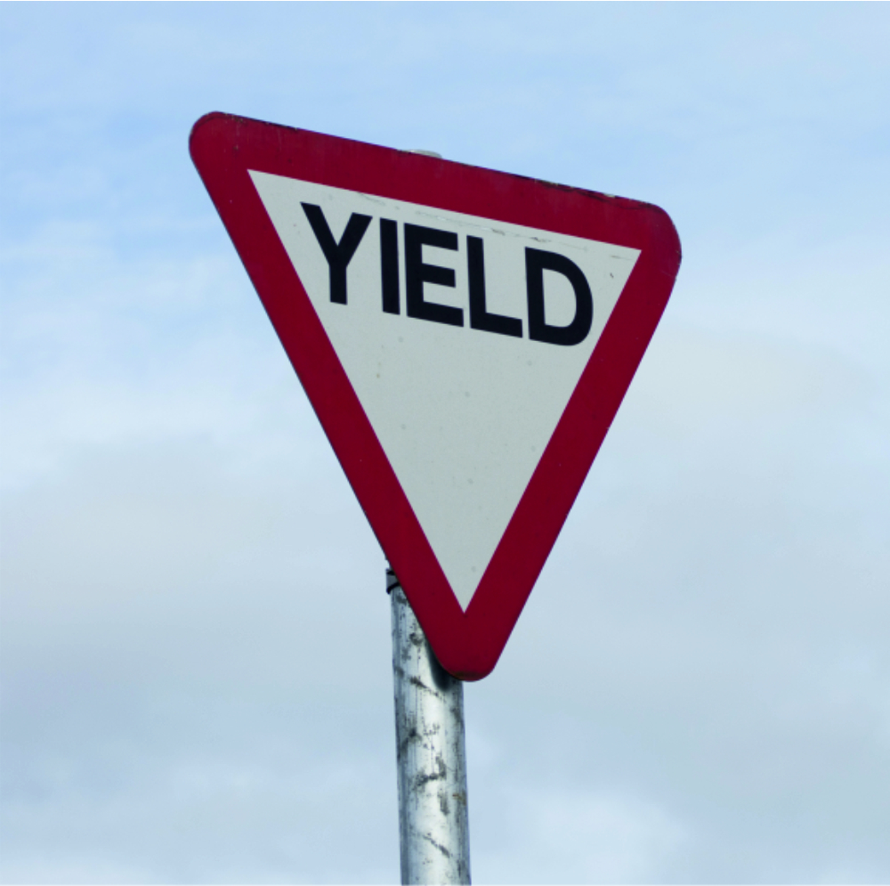reflective pole-mounted signs - yield