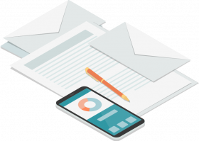 graphic of letterhead, pen, and phone