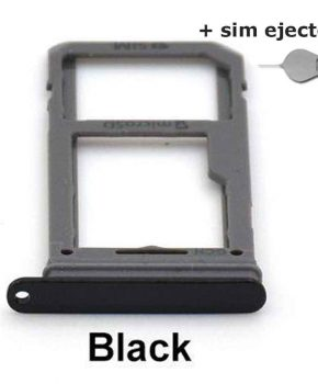 Simkaart houder/ Micro SD Kaart voor Samsung Galaxy S8 / S8 Plus - zwart + deco pin-sim ejector