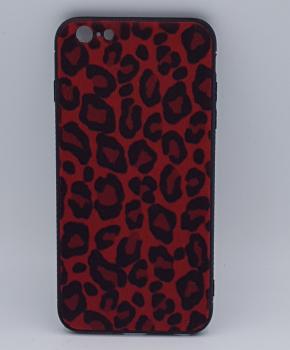 iPhone 6 Plus hoesje - panter look - pluizig -rood