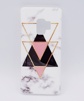 Samsung S9 hoesje - marble triangels black & pink