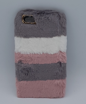 voor iPhone 6 - pluizig hoesje - 3 Kleuren - roze/grijs