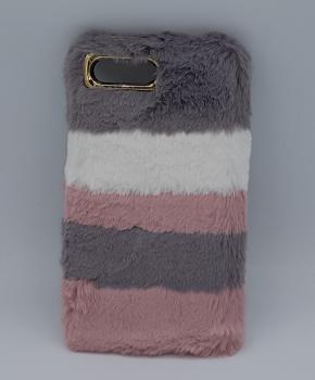 voor iPhone 7 plus -pluizig  hoesje - roze/grijs