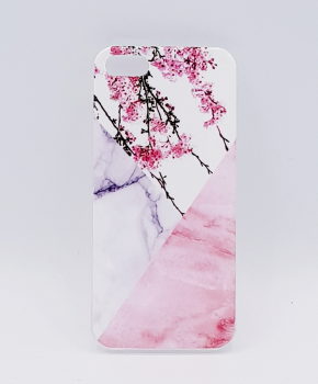 iPhone 6 / 6S hoesje - Triangle Marble flower pink