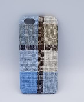 Stoffen - geruite blauw bruine - back case voor iPhone 6