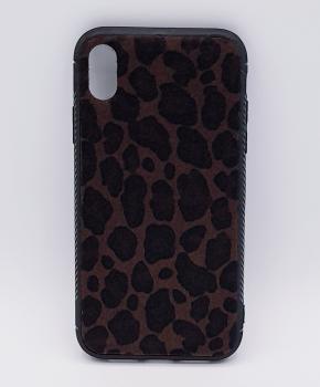 iPhone XR - hoesje - panter print - pluizig - bruin