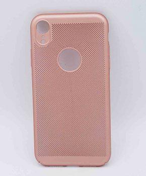 Voor IPhone XR - hoesje - metaal gaas look - roze goud