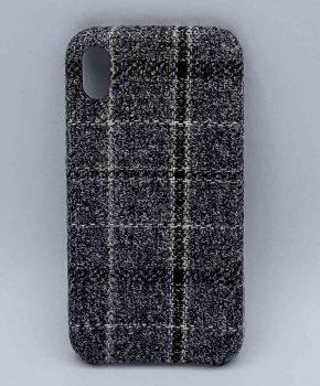 iPhone XR - hoesje - stof - schotse ruit - zwart