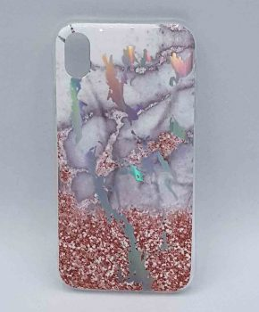 Voor IPhone XR - hoesje - Marble flower pink