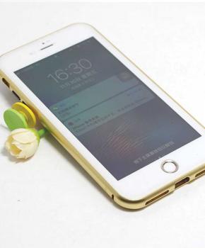 Magnetische case met voor - achterkant gehard glas voor de iPhone 6/6S Plus - Goud