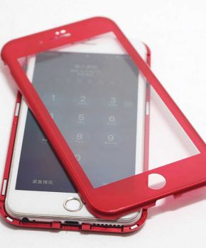 Magnetische case met voor - achterkant gehard glas voor de iPhone 6/6S Plus - Rood