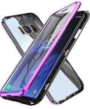 Magnetische case met voor - achterkant gehard glas voor de Samsung Galaxy S9 - Paars