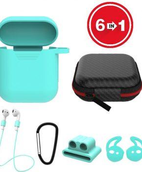 6 in 1 siliconen case met accessoires geschikt voor AirPods - mint groen
