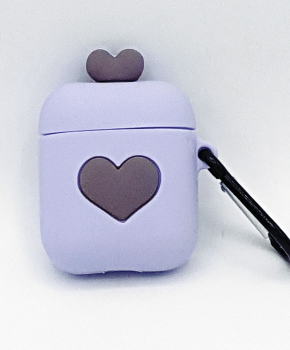 Cartoon Silicone Case voor Apple Airpods - love hart - purple - met karabijn - met karabijn