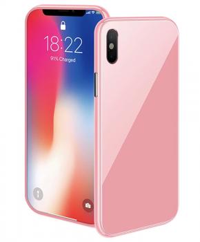 Magnetische case met gekleurd achterglas voor de iPhone Xs Max – roze