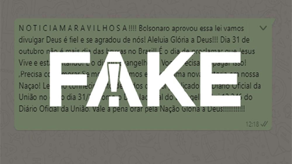 É #FAKE que Bolsonaro criou lei que transformou Dia das Bruxas em Dia do Evangelho