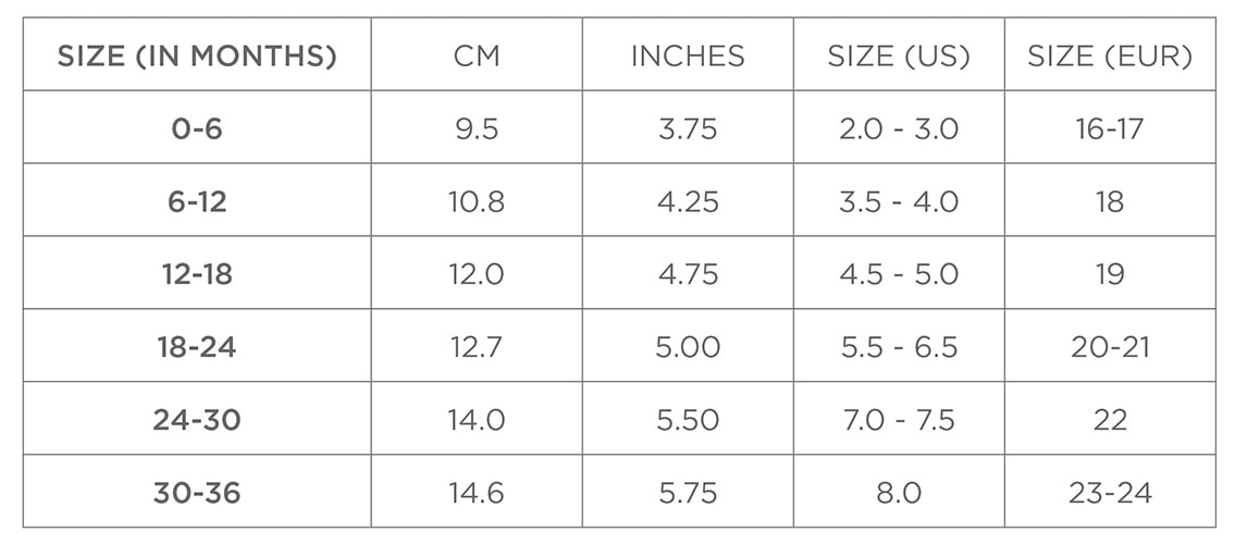 baby shoe sizes us