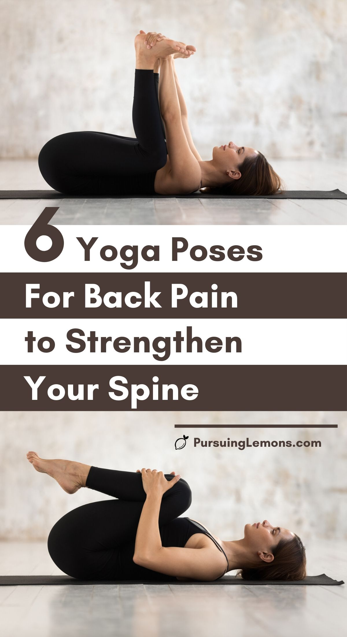 Yoga for Back Pain: 6 Poses to Strengthen Your Spine | Always have to deal with upper & lower back pain? Try this yoga sequence to relieve your back pain. These 6 yoga poses will also improve your back flexibility while strengthening your spine. #yogaposes #yogaforbackpain #yogastretches #yoga