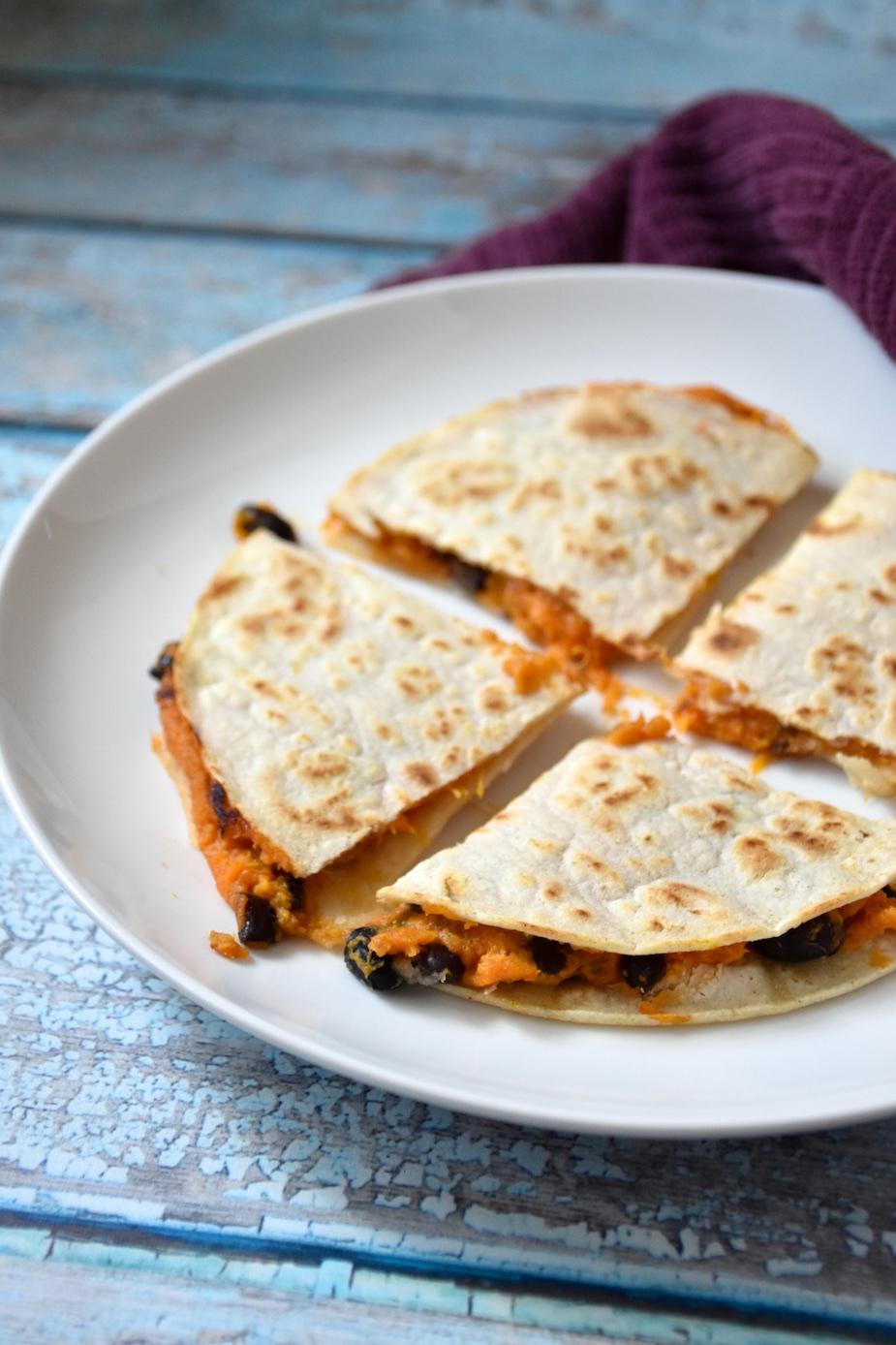 Gluten-free Dairy-free Sweet Potato & Black Bean Quesadilla