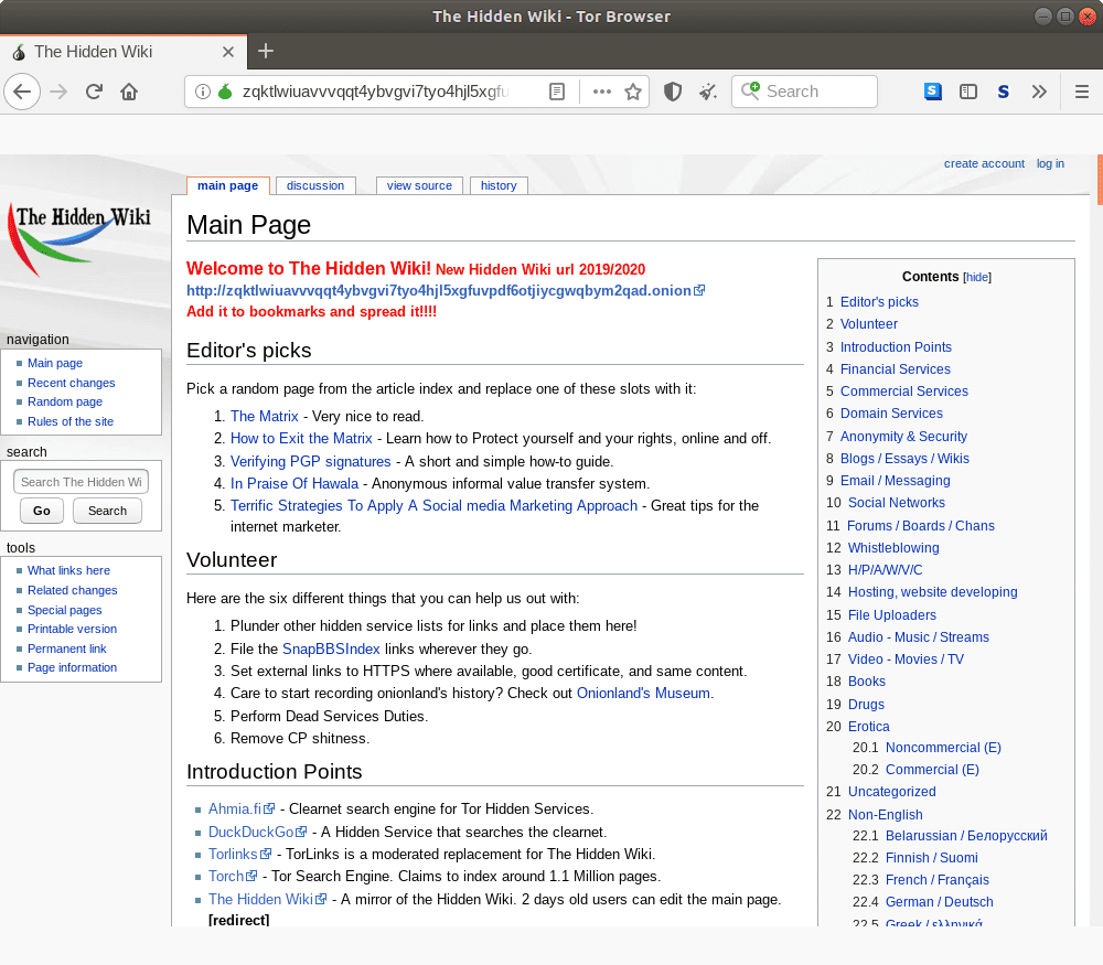 Onion homepage for the Hidden Wiki.