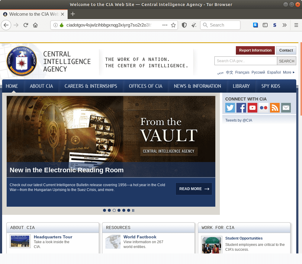 Onion homepage for the CIA.