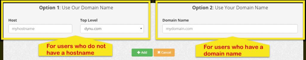 Página de DDNS de Dynu mostrando la Opción 1 (para usuarios que no tengan un nombre de host) y la Opción 2 (para usuarios que sí tengan).