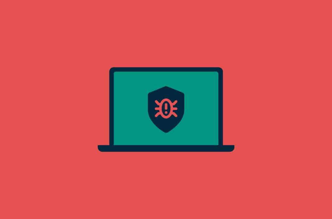 Bug icon displayed on laptop