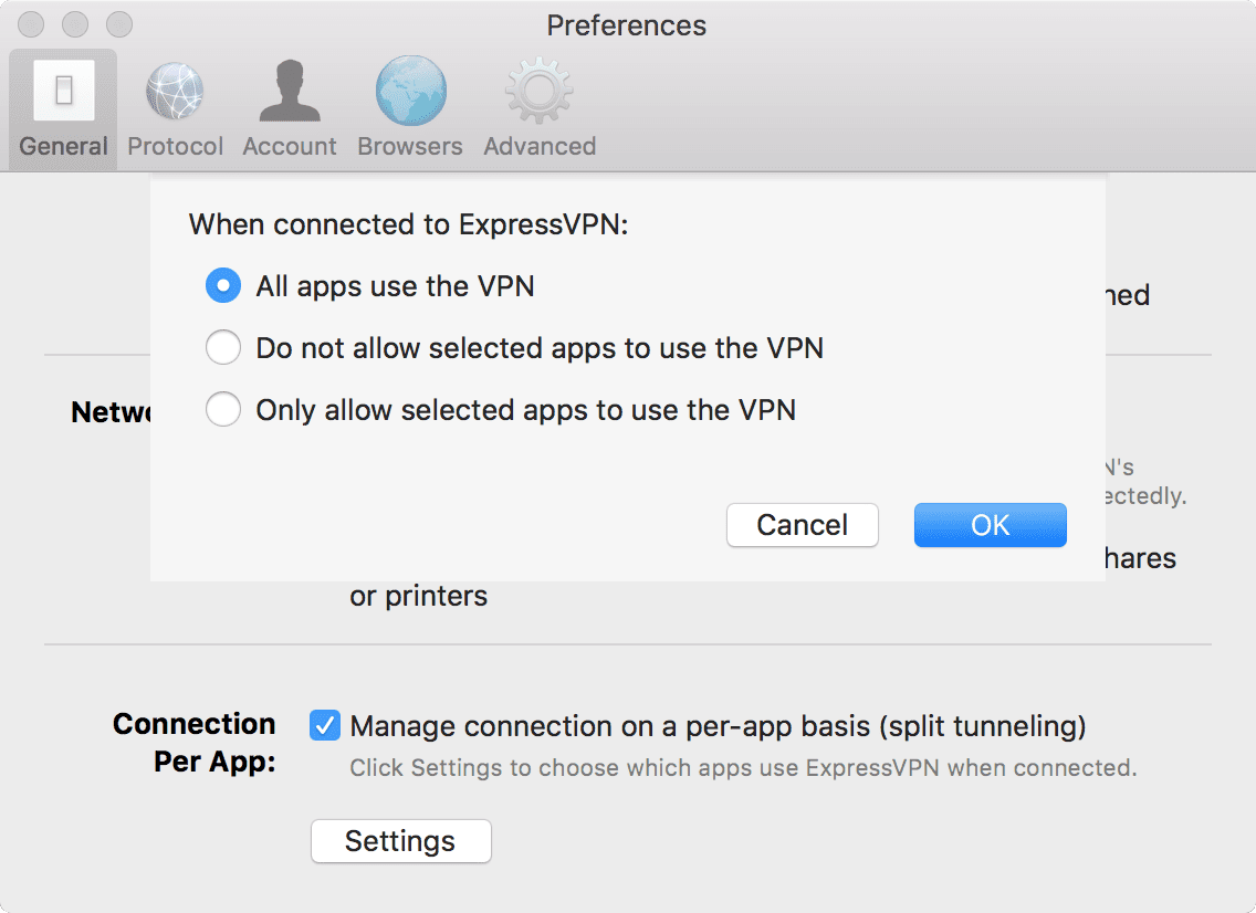 Choose which apps use a VPN