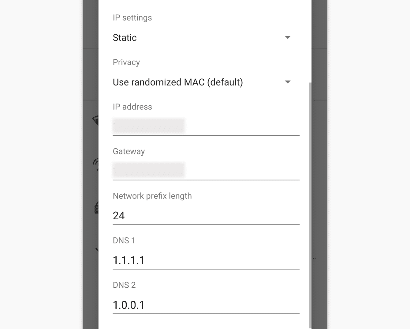 Enter Cloudfare DNS servers on the Android device.